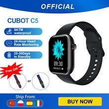 Cubot C5 Smartwatch 1.7 Zoll Touch-Farbdisplay 260mAh Fitness Armband Tracker mit Pulsuhr IP68 Wasserdicht Outdoor Sportuhr für iOS Android Schrittzähler für Damen und Herren Herzfrequenzüberwachung Musik Wiedergabe