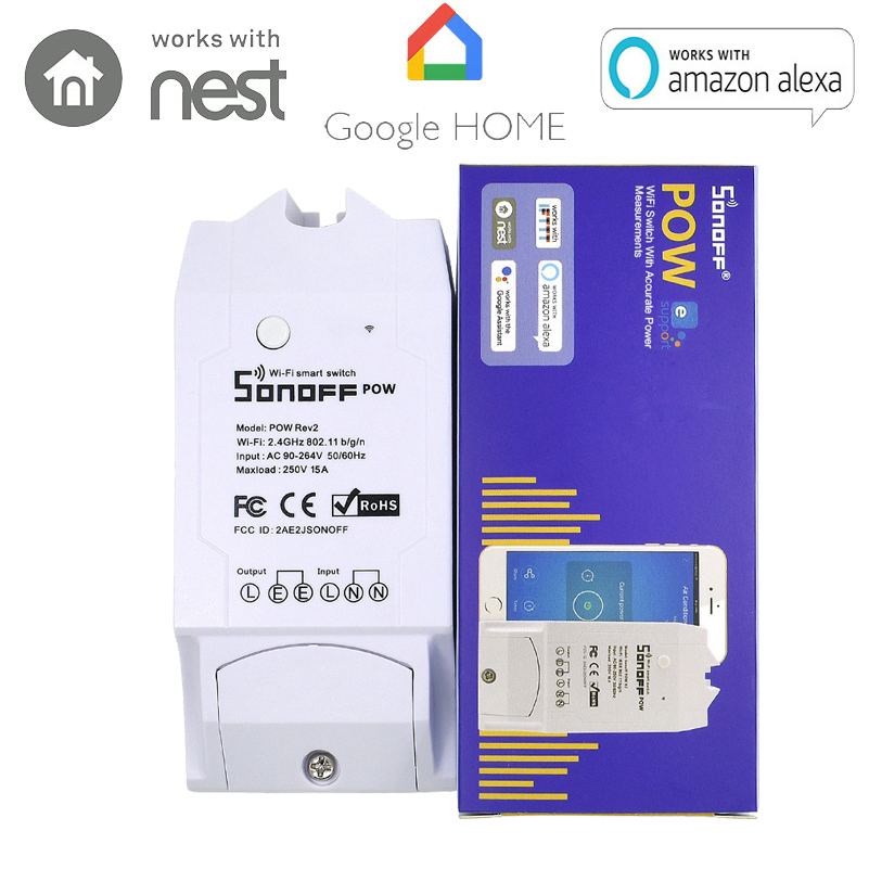 ITEAD Sonoff Pow R2 Wifi Smart Switch Ewelink With Higher Accuracy Monitor Energy Usage Smart Home Power Measuring With Alexa