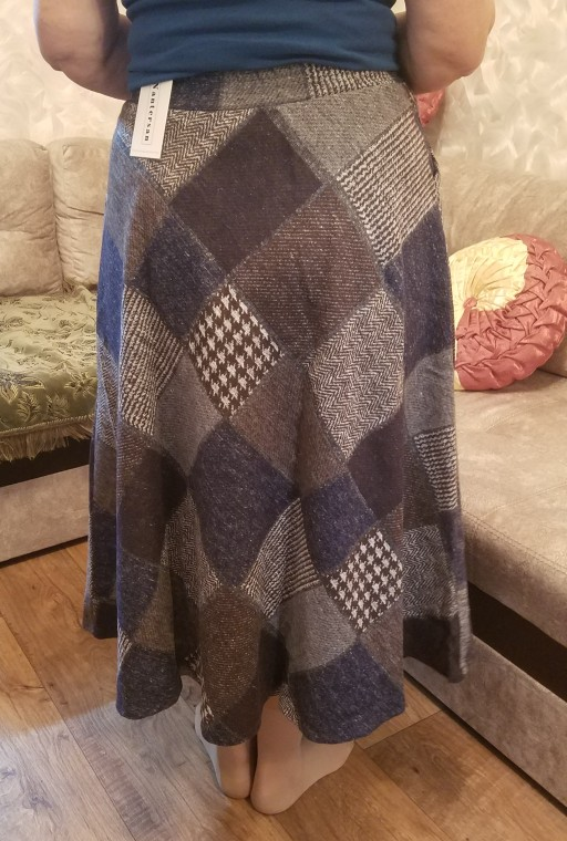 Autumn Winter Long Skirts Womens Maxi Skirt High Waist Warm Wool Elegant Office Lady Plaid Skirt photo review