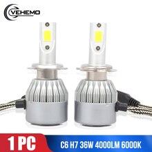 1 шт. Авто H7 светодиодный фары лампы 6000 К холодный белый 36 Вт 4000лм COB чиповый светодиод лампа автозапчасти лампа H7 светодиодный Canbus