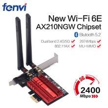 3000 Мбит/с WiFi 6E Intel AX210 PCIe беспроводной сетевой адаптер двухдиапазонный 2,4G/5G/6 ГГц 802.11AX Bluetooth 5,2 для настольного ПК Windows 10