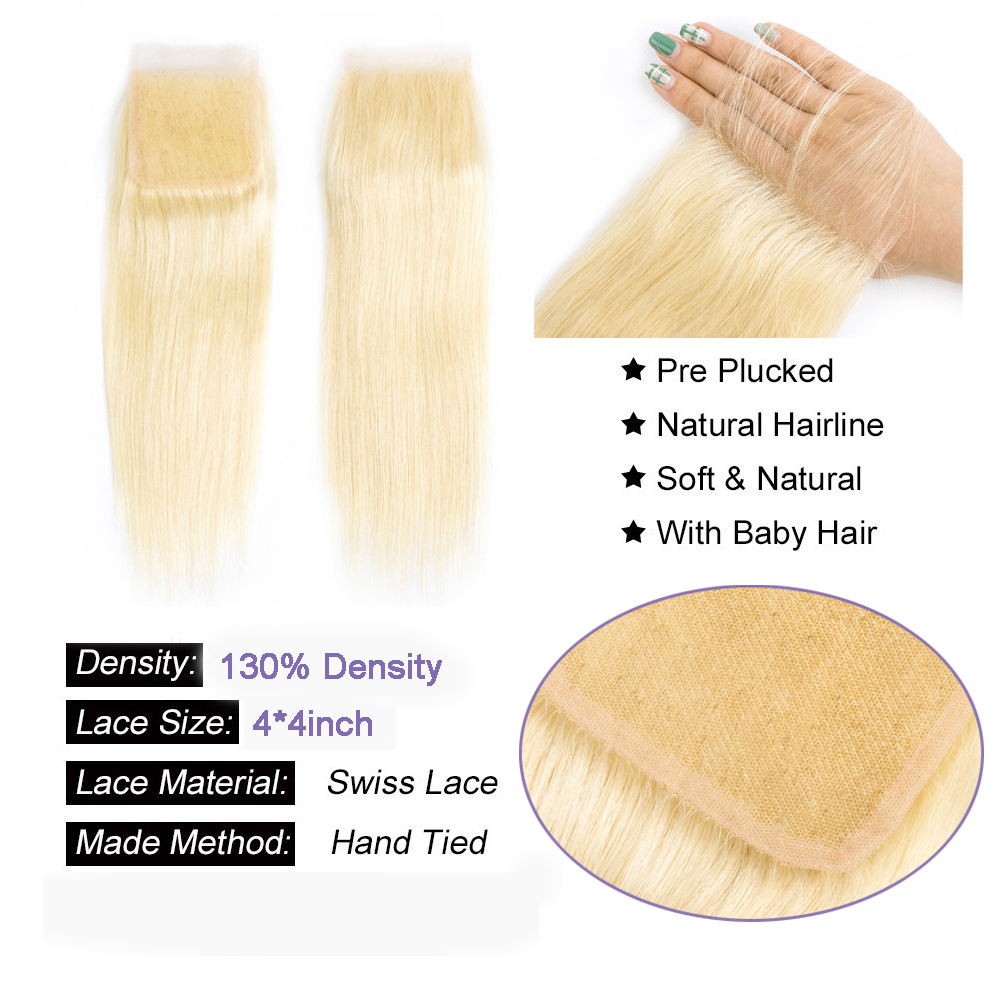 Beaudiva  Blonde 613 Bundles With Closure  Straight Hair  Bundles With Closure 6