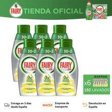Fairy Platinum Limón Todo en 1, 192 Lavados, Gel Para Lavavajillas, 6 Unidades De 30+2, 3 Active Powers, Limpieza y Brillo