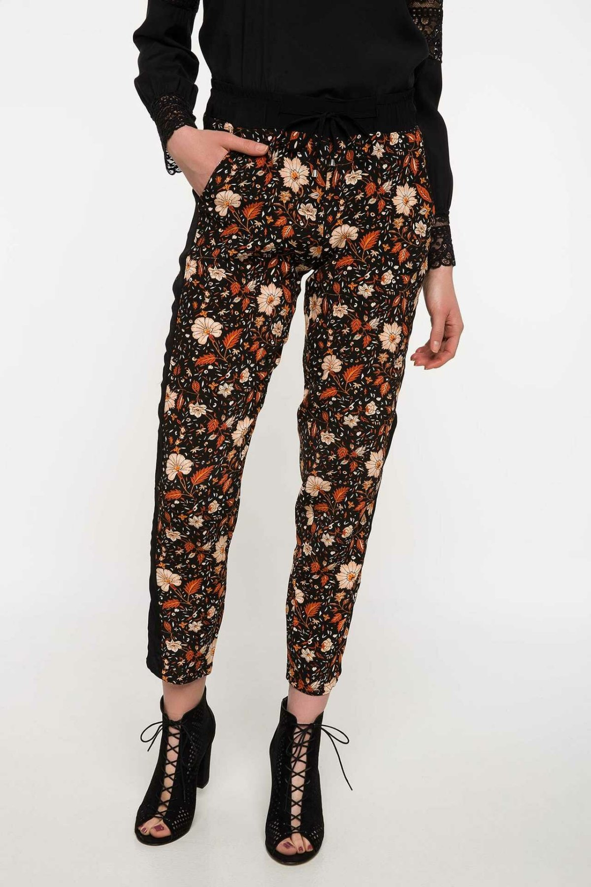 DeFacto Women Fashion Floral Harem Pants Prints Long Pants Female Ankle-length Bottoms Casual Loose Trousers-I9939AZ18SP