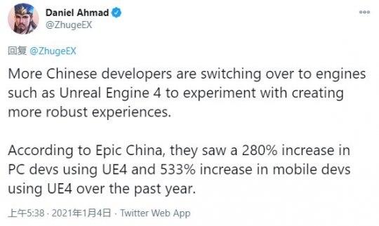 中国游戏开发人员使用虚幻4人数手机端一年内翻了5倍 PC端3倍插图