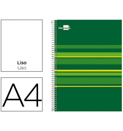 SPIRAL NOTEBOOK LIDERPAPEL A4 MICRO CLASSIC LINED CAP 160H 60 GR PLAIN 5 BANDS 4 DRILLS GREEN