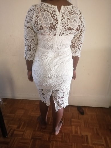 Evening Party Date Women White See Through Hollow Out Floral Lace Bodycon Dress Office Lady Spring Summer Work Basic Dresses photo review