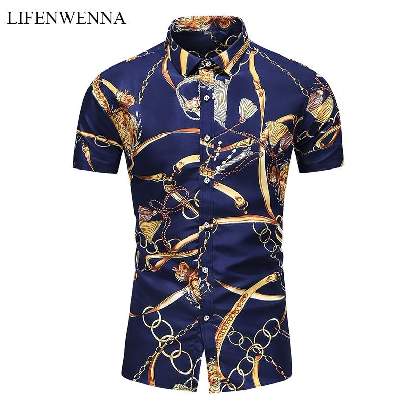 5XL 6XL 7XL Shirt Men Summer New Fashion Personality Printed Short Sleeve Shirts Men 2020 Casual Plus Size Beach Hawaiian Shirt