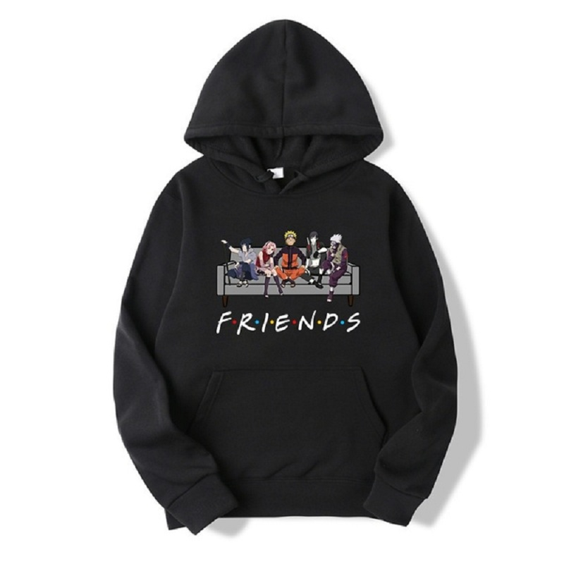 New Unisex Fashion Japanese Anime Uzumaki Naruto Friends Letter Printed Hoodies Cozy Tops Pullovers