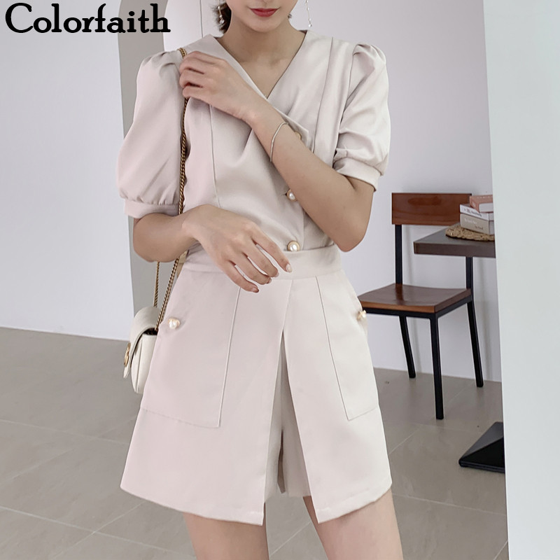Colorfaith 2020 New Summer Woman Sets 2 Piece Outfits Matching Pants Casual Puff Sleeve Irregular Elastic Waist Lady Suit WS1260