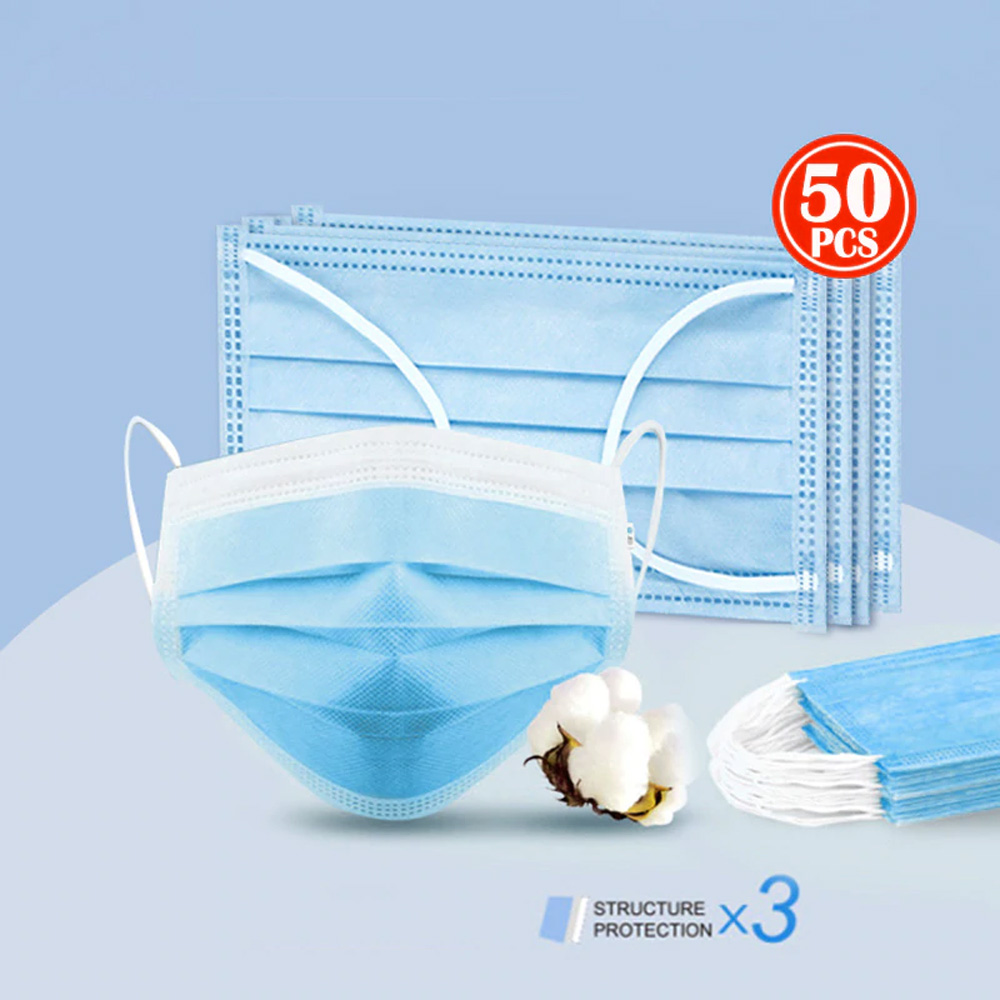Fast 12hrs 50pcs/box Disposable Face Mouth Masks Non Woven Disposable Anti-Dust PM2.5 Anti Breathing Earloops Masks