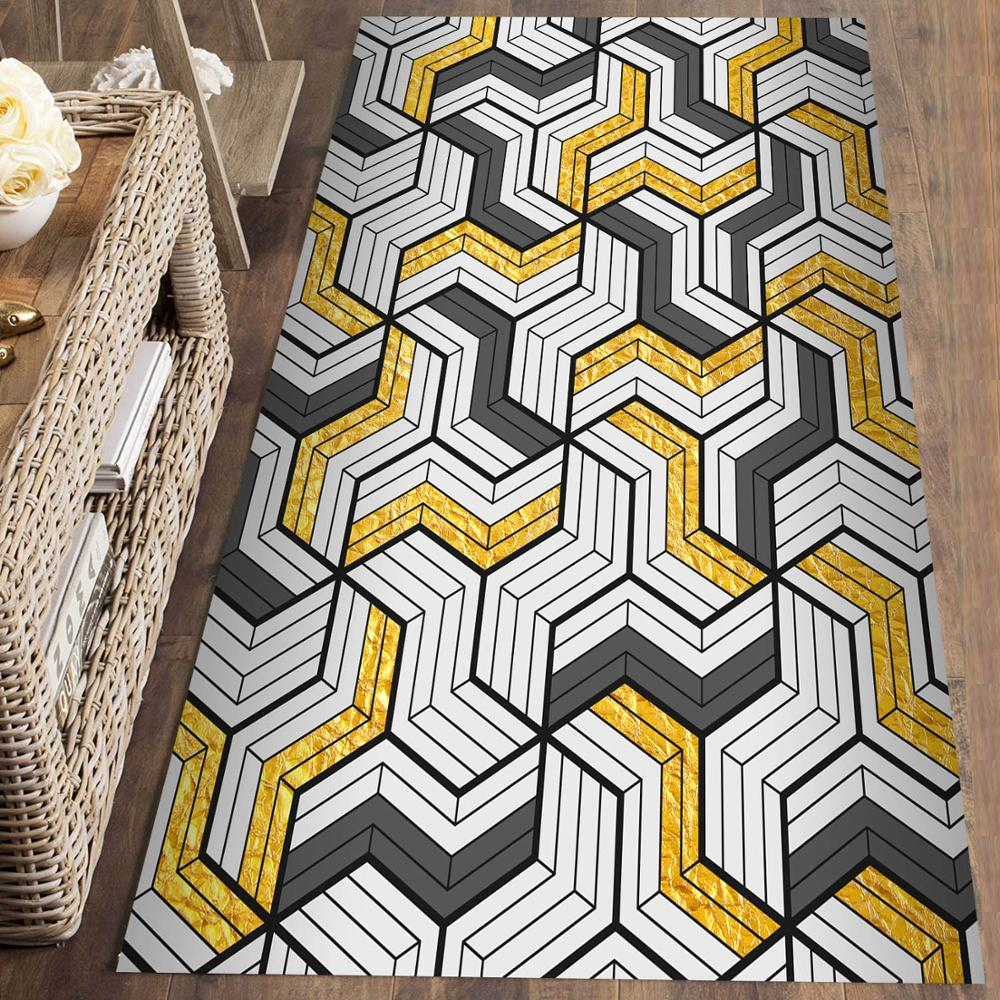 Else Yellow Gray Geometric Lines Nordec 3d Print Non Slip Microfiber Washable Runner Mats Floor Mat Rugs Hallway Carpets
