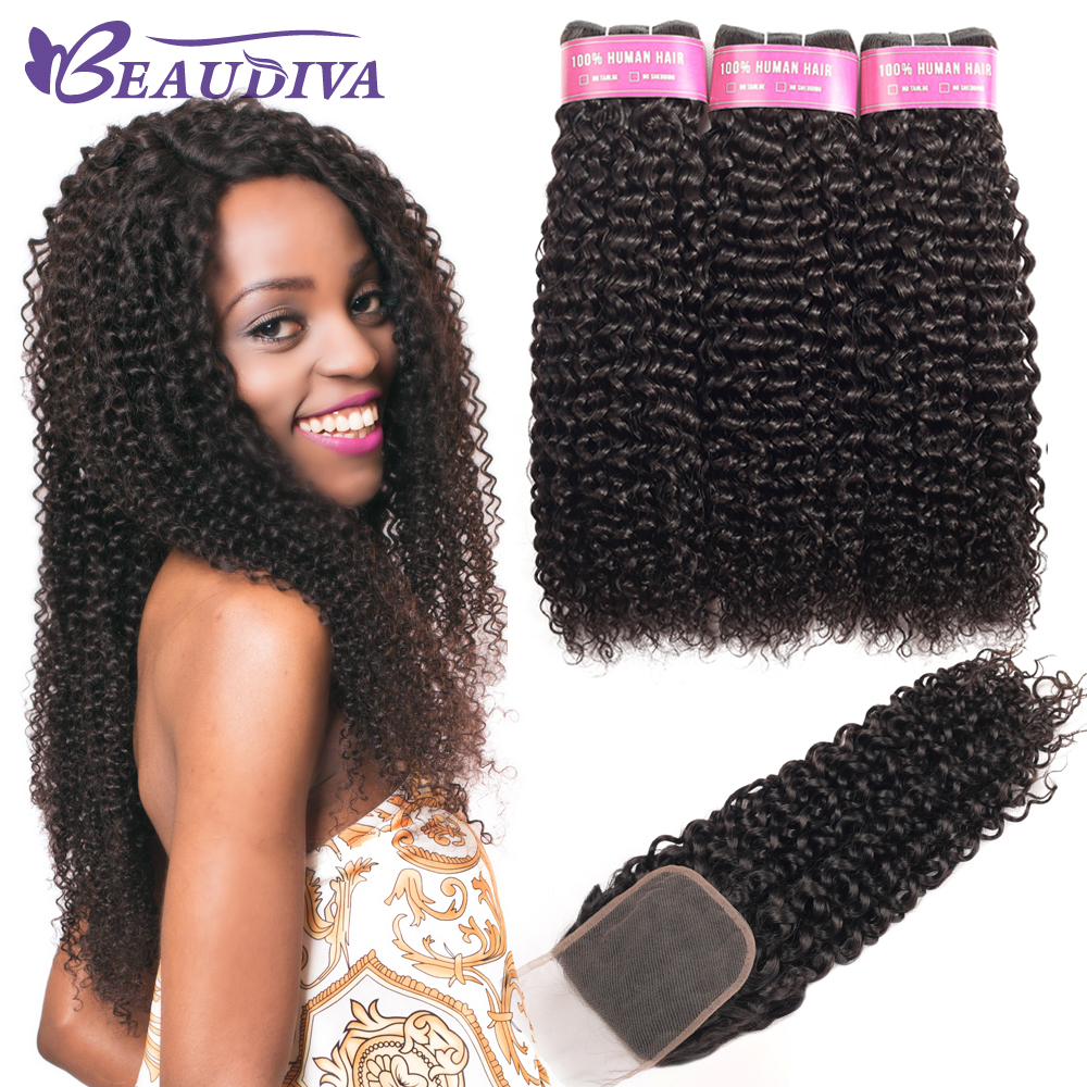 BEAUDIVA Brazilian Hair Weave Bundles Remy Hair Bundles 3Pcs With Closure 4*4  Kinky Curly Bundles With Closure Hair Extension