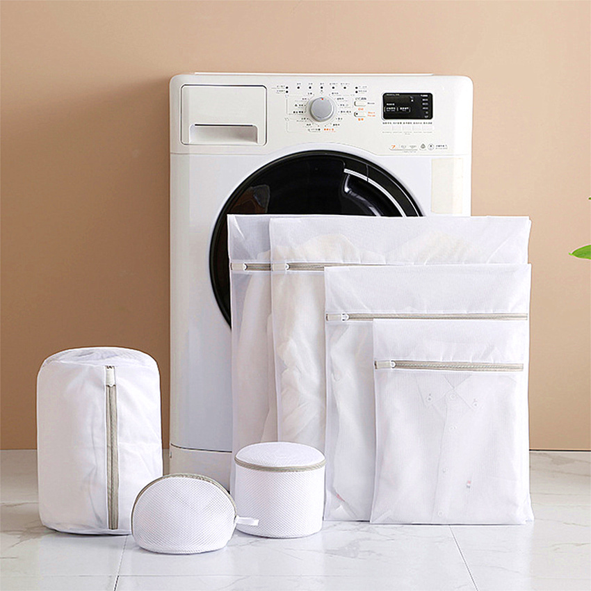 Gray Zipper Mesh Wash Bags Household Washing Machine Bag For Laundry Underwear Bra Socks Dirty Clothes Organizer Laundry Basket