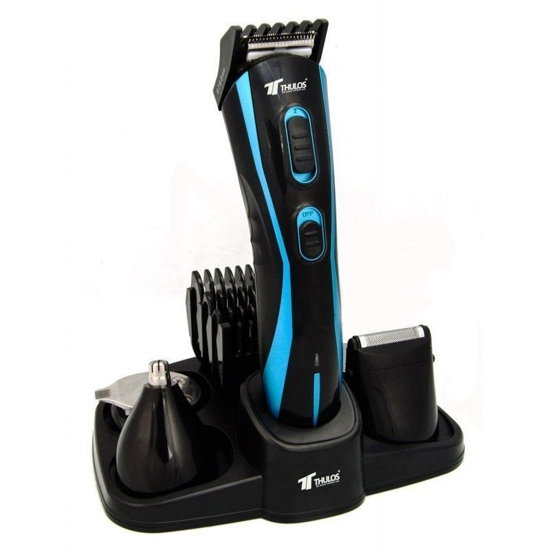 THULOS. Profesional Wireless 5+1 Hair,beard,nose,ear Cutter, With Charging Base, 45min Autonomy,4 Cutting Guide And Blades