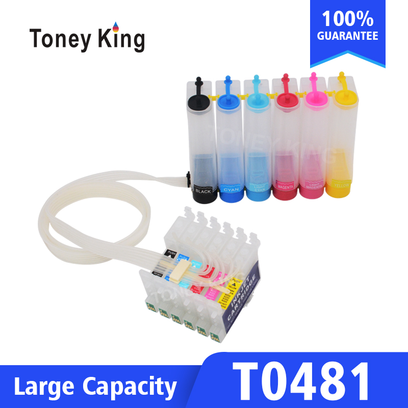 Toney King T0481 Continuous Ink System Kit For <font><b>Epson</b></font> Stylus Photo <font><b>R200</b></font> R220 R300 R300M R320 Printer With Reset Chip image