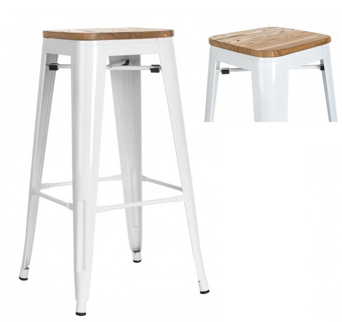 Stool TOL, Steel, Wood, White