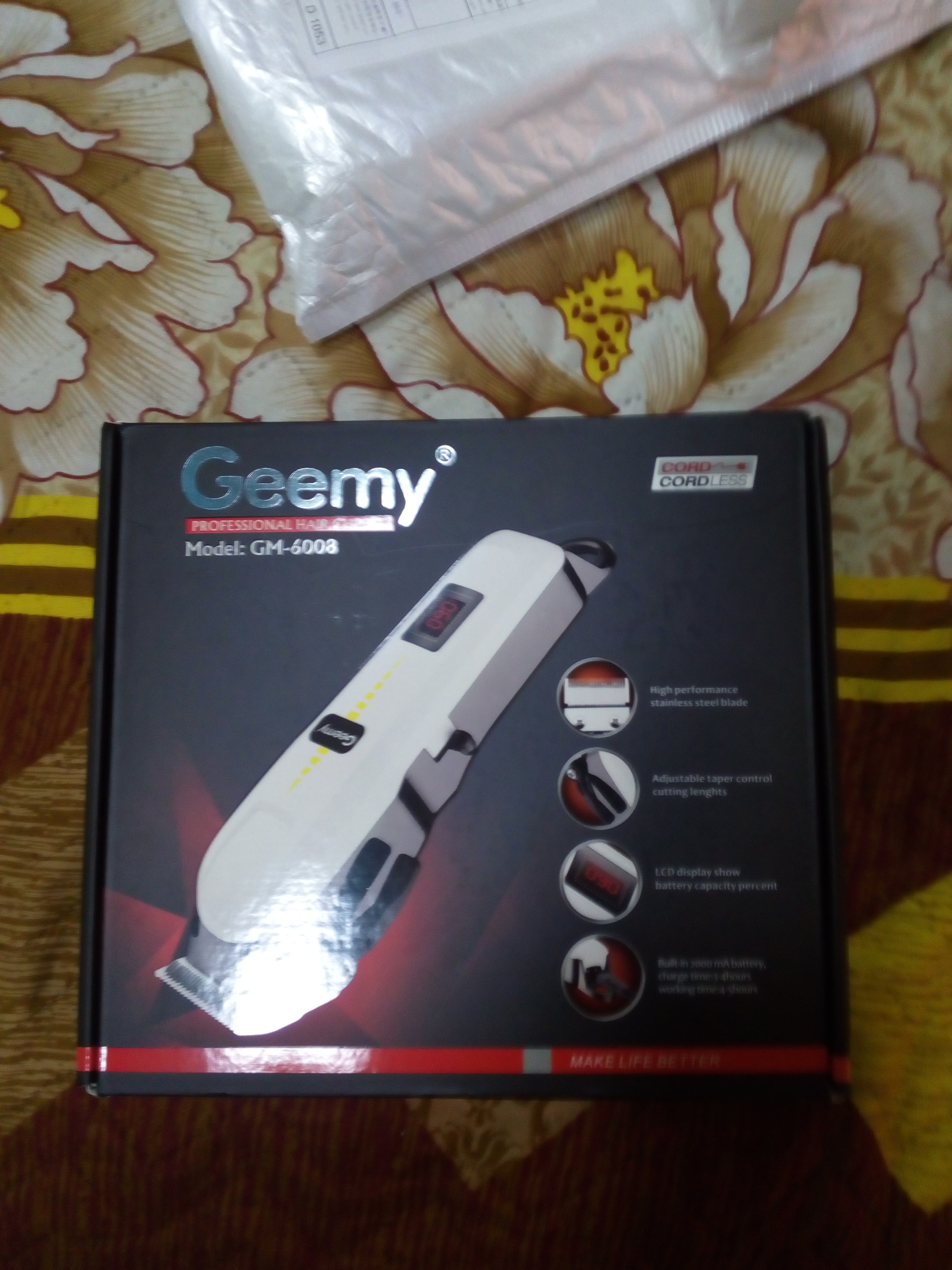 Geemy Professional Rechargeable Electric Cordless Hair Clipper and Beard Trimmer photo review