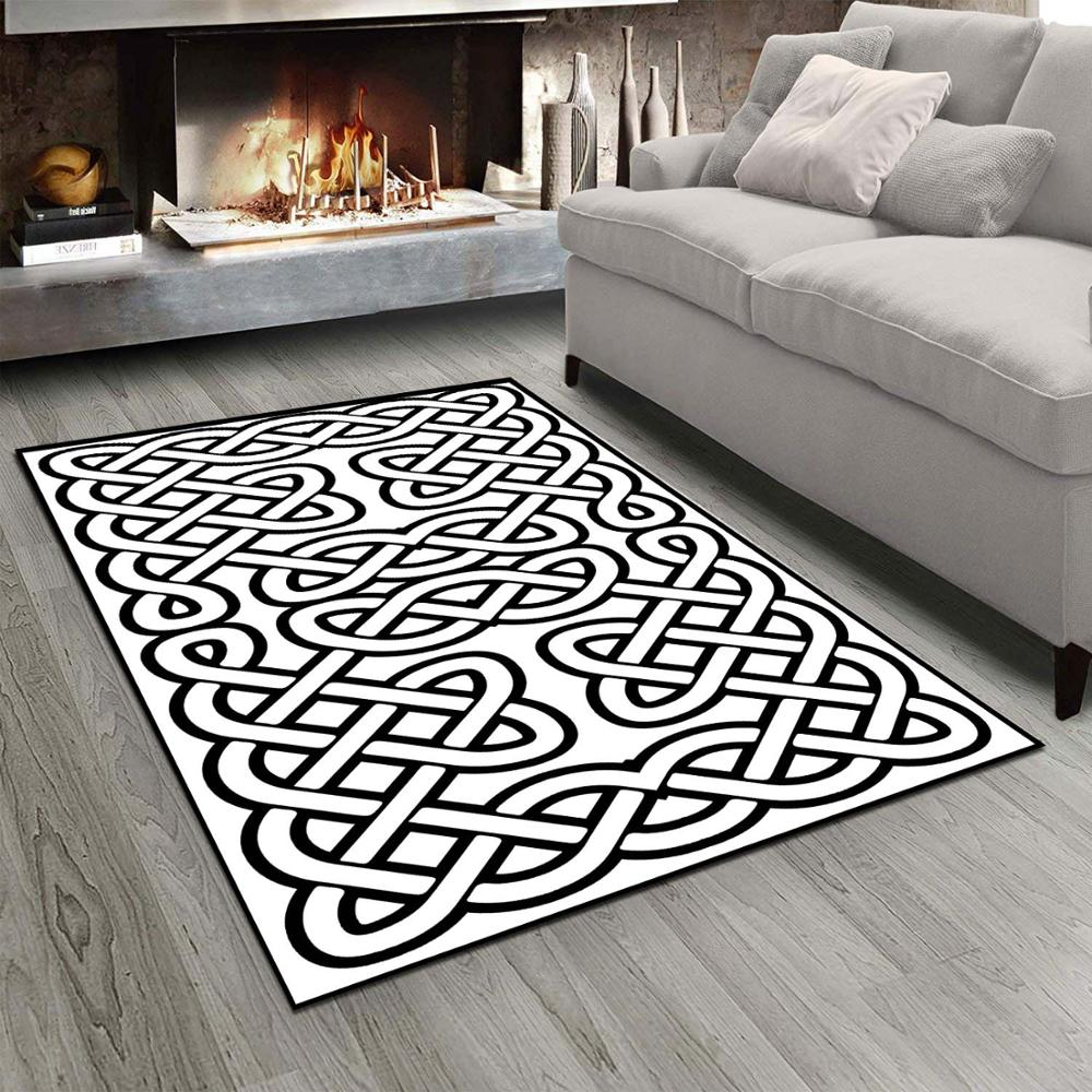 Else Black White Ethnic Geometric Authentic Ropes 3d Print Non Slip Microfiber Living Room Modern Carpet Washable Area Rug Mat