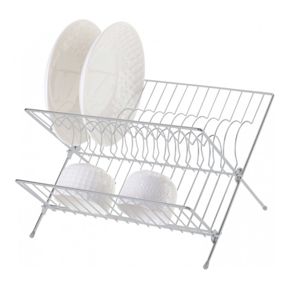 Dish Dryer Folding 2-tier, Gray, 32x26x22 Cm