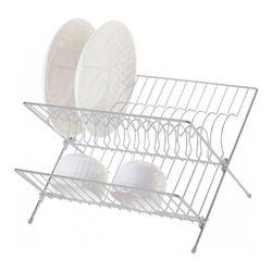 Secador para platos plegable de 2 niveles, gris, 32x26x22 cm