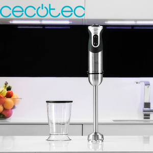 Cecotec Powerful Titanium 1000 Hand Blender 1000W with Extra Long XL Foot Stainless steel 21 Speeds and Turbo Function 4 Blade