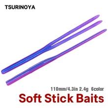 TSURINOYA Worm Soft Fishing Lure 11cm 2.4g Straight Twin Tail Soft Stick Baits Bass Silicone Bass Pike Minnow Jigging Swimbait