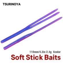 Tsurinoya Worm Zachte Vissen Lokken 11Cm 2.4G Rechte Twin Tail Soft Stick Baits Bass Siliconen Bass Pike Minnow jigging Swimbait