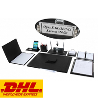 NEVA 12 Pieces Luxury Office Desk Supplies Accessories Black Leather Desk Set Desk Pad Mat Organizer Full Set FREE ENGRAVING