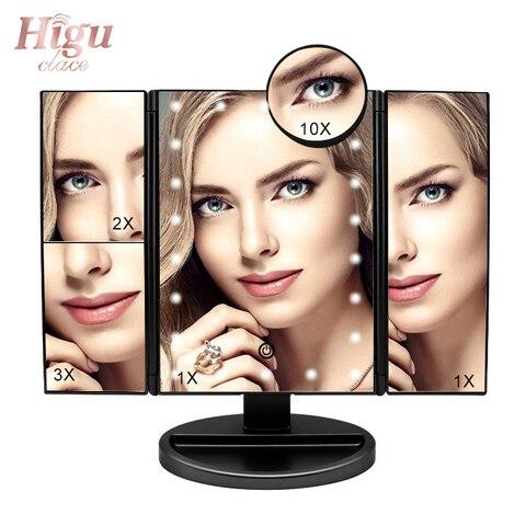 Higu tri dobrado espelho de maquiagem de mesa led light touch screen fold espelhos 180