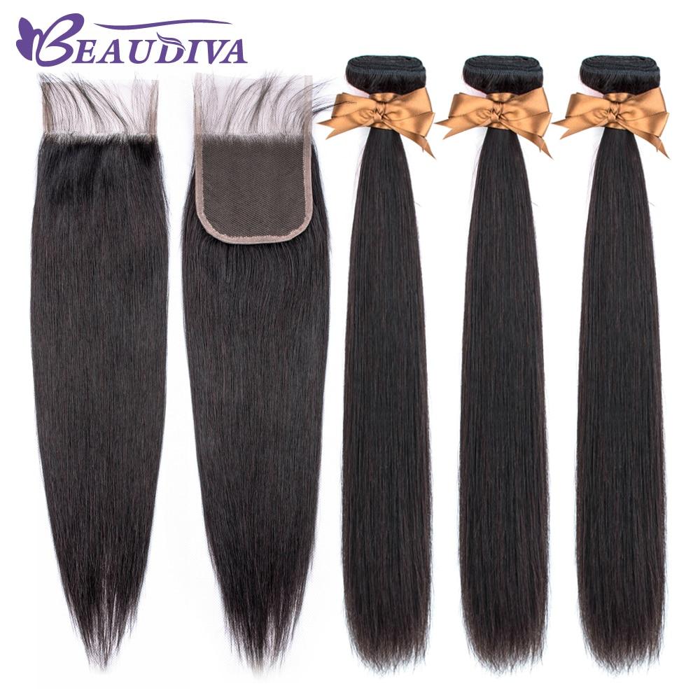 Beaudiva 100% Human Hair Bundles With Closure Brazilian Hair Weave Bundles Straight 3 Bundles With Lace Closure Hair Extension