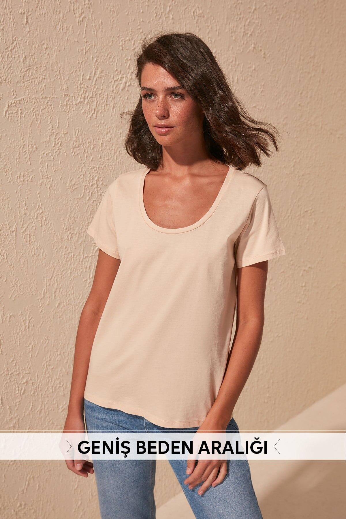 Trendyol 100 Cotton Pool Collar Basic Knitted T-Shirt TWOSS20TS0139