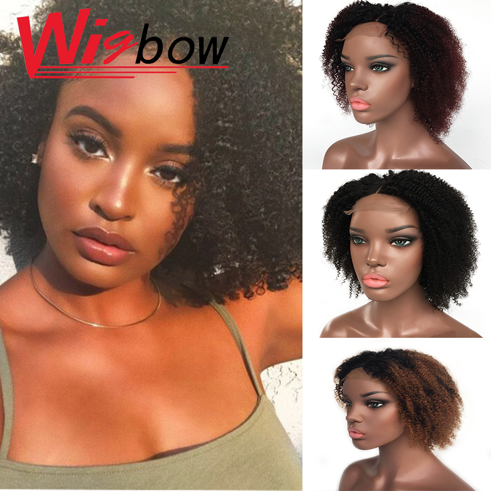 Kinky Curly Short 150% Remy Human Hair Lace Closure Wigs Ombre Pre Plucked With Baby Hair Peruvian Human Hair Wigs 8 10 12 Inch