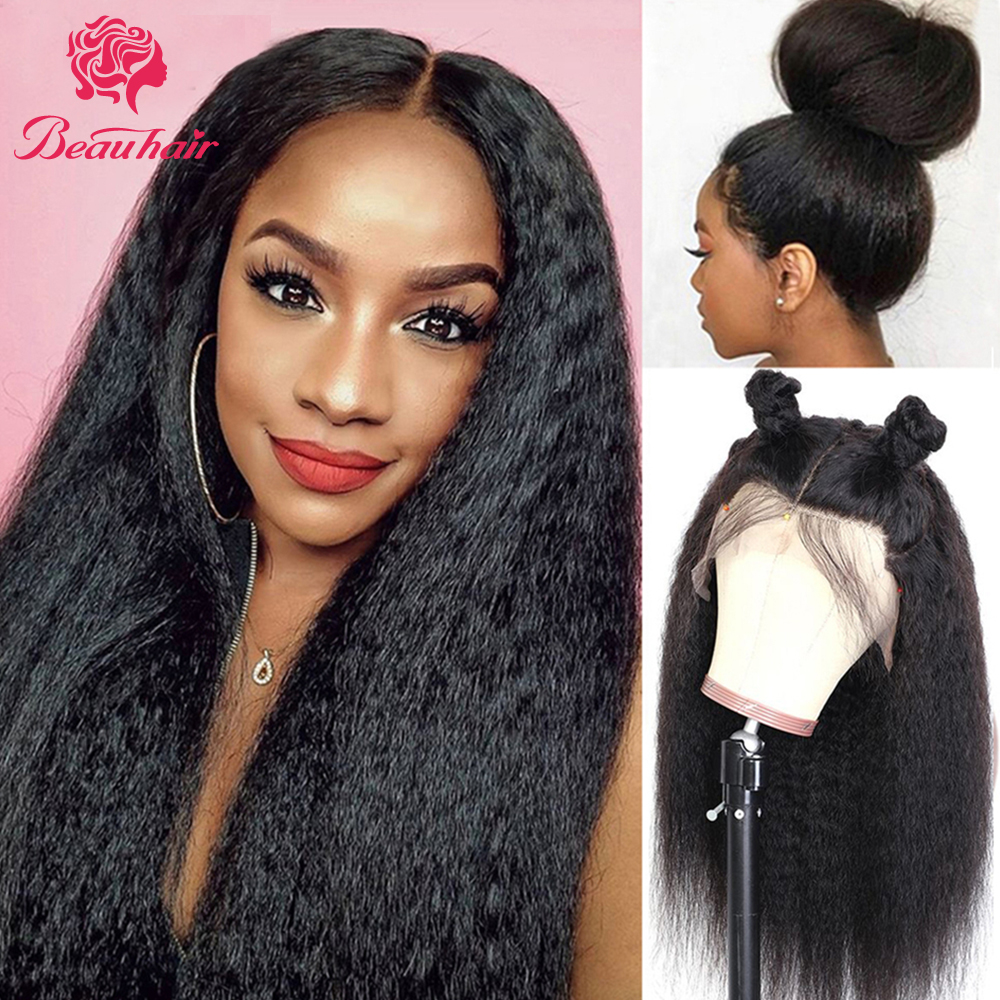 Beauhair Wigs Lace-Frontal Kinky Black Straight Women Brazilian Remy 13x4 4x4 for Pre-Plucked