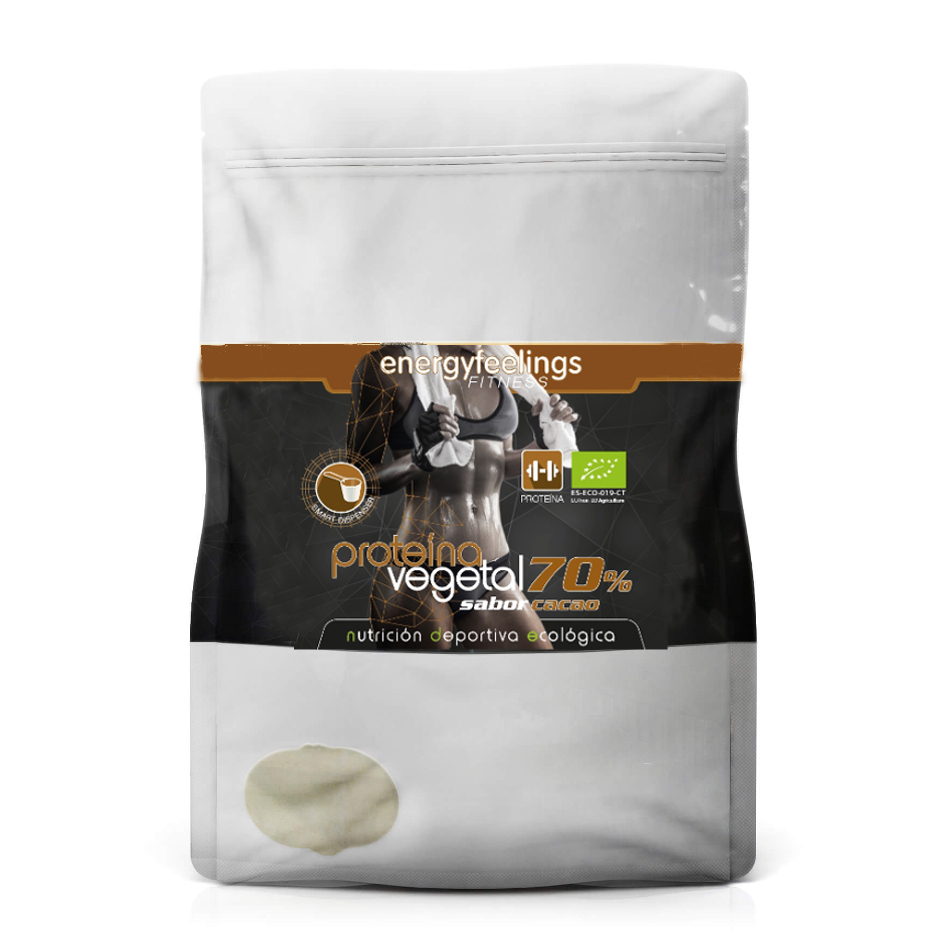 Energy Feelings, Protein Vegan Powder Eco-friendly COCOA 70% Vegetable Protein Rice, Hemp And Pea 1 KG XXL Pack