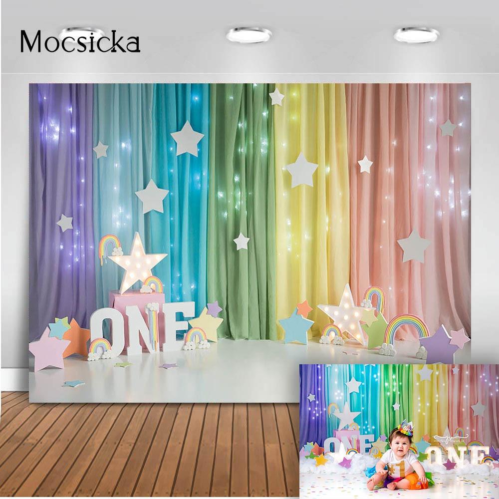1st birthday colorful rainbow cake smash photography backdrop kids portrait newborn photographic background colorful curtain
