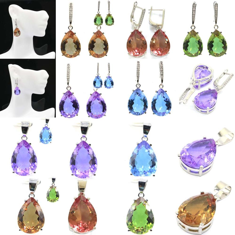35x13&27x13mm Special 2019 Hot Sell Created Color Changing Alexandrite & Topaz, Spinel Gift For Sister Silver Pendant & Earrings