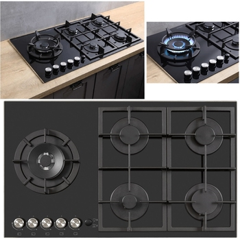 4 Burner + Wok Stove NEW DESIGN Propane Gas Built-in Kitchen Cooktop Stoves built in Hob Cooking Appliance Cookware Gas Cooker brushed metal gas stove knobs cooker control switch range oven knobs cooktop burner knob gas hob switch kitchen replacement