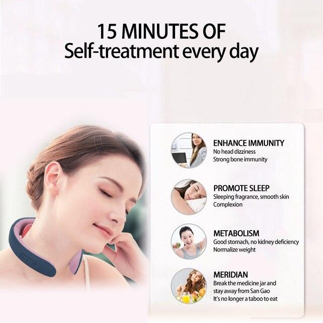 Ems elétrica pescoço e ombro massageador 3 cabeças de aquecimento terapia magnética pulso alívio da dor ferramenta cuidados com a saúde massagem máquina