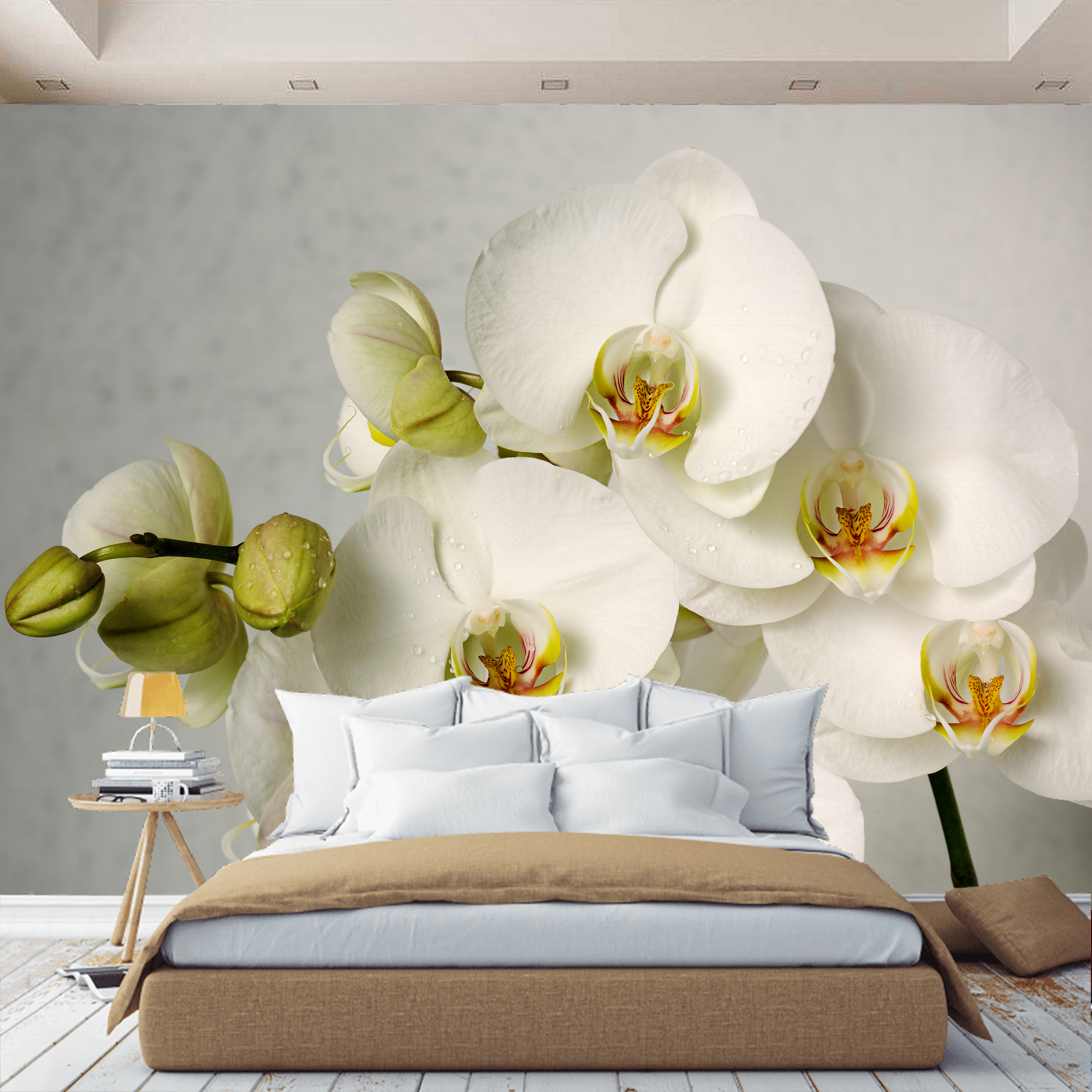 3D Wall Mural Wallpaper Orchid Flower, Custom Wallpaper, For Hall, Kitchen, Bedroom, Children's, Wall Mural Expanding Space