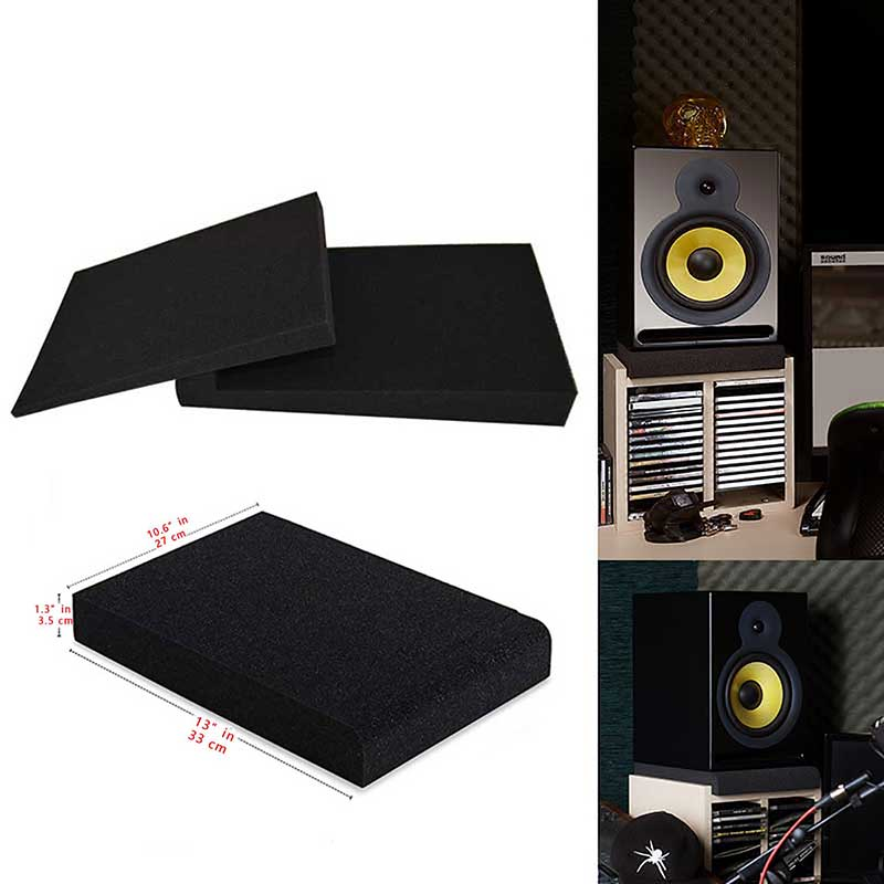 2 Set Studio Monitor Isolation Pads Pair of Two High Density Acoustic Foam Sound Treatment Plates which Fits Most Speaker Stands