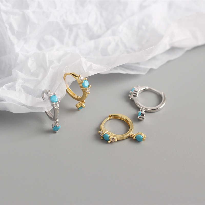 BOAKO, Pendientes de aro de plata de ley 925 con Turquesa a la moda para Mujer, Pendientes de compromiso de aniversario para Mujer, joyería fina