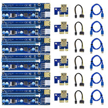 6pcs Gilded VER009 USB 3.0 PCI-E Riser VER 009S Express 1X 4x 8x 16x Extender Riser Adapter Card SATA 15pin to 6 pin Power Cable