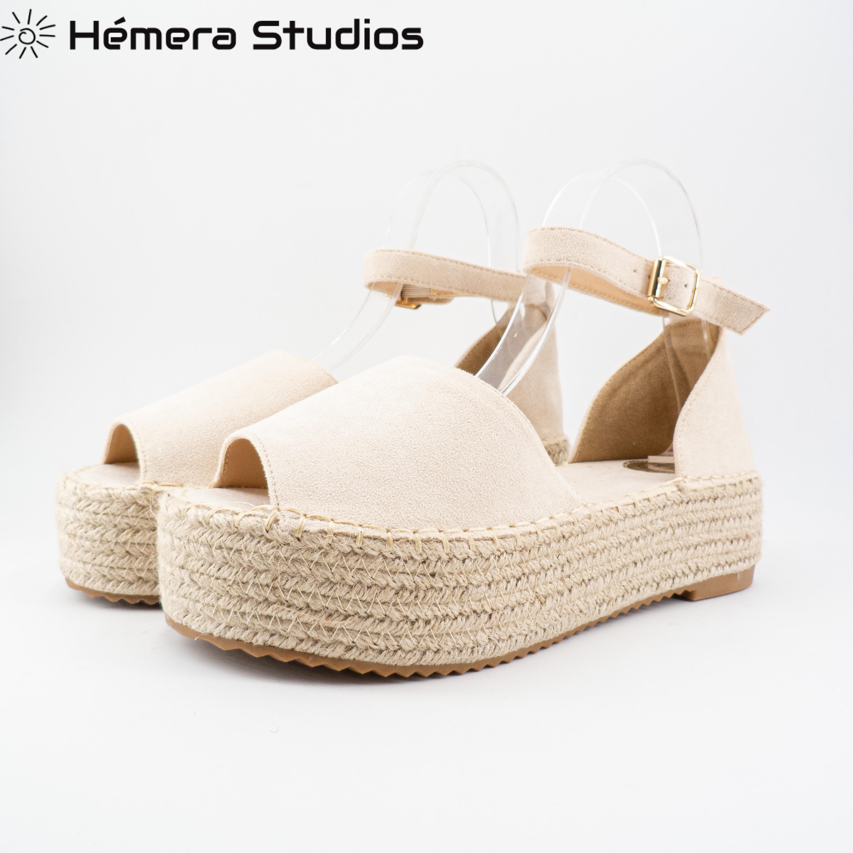 WOMAN Sandals 2020 SUMMER ESPARTOS BUCKLE ESPARTO Platform Wedge Espadrille Flat Beach Sandal Open Multicolor