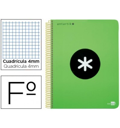SPIRAL NOTEBOOK LEADERPAPER A4 ANTARTIK HARDCOVER 80H 100 GR TABLE 5MM MARGIN COLORVERDE FLUOR
