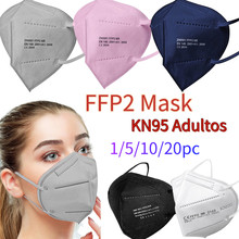 Masque de protection pour adultes, modèle ffp2, kn95, design 3D, lot de 1 ou 20 pièces