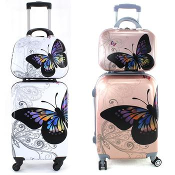 Cabin suitcase stamping butterflies 55cm rigid cosmetic pouch