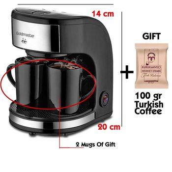 Goldmaster 300 ML Coffee Smart 220V 450W Filter Coffee Machine Espresso coffee Maker, 2 Coffee Mug +100gr Turkish Coffee Gift mug rosenberg 340 ml