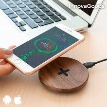 InnovaGoods беспроводное деревянное быстрое зарядное устройство орех
