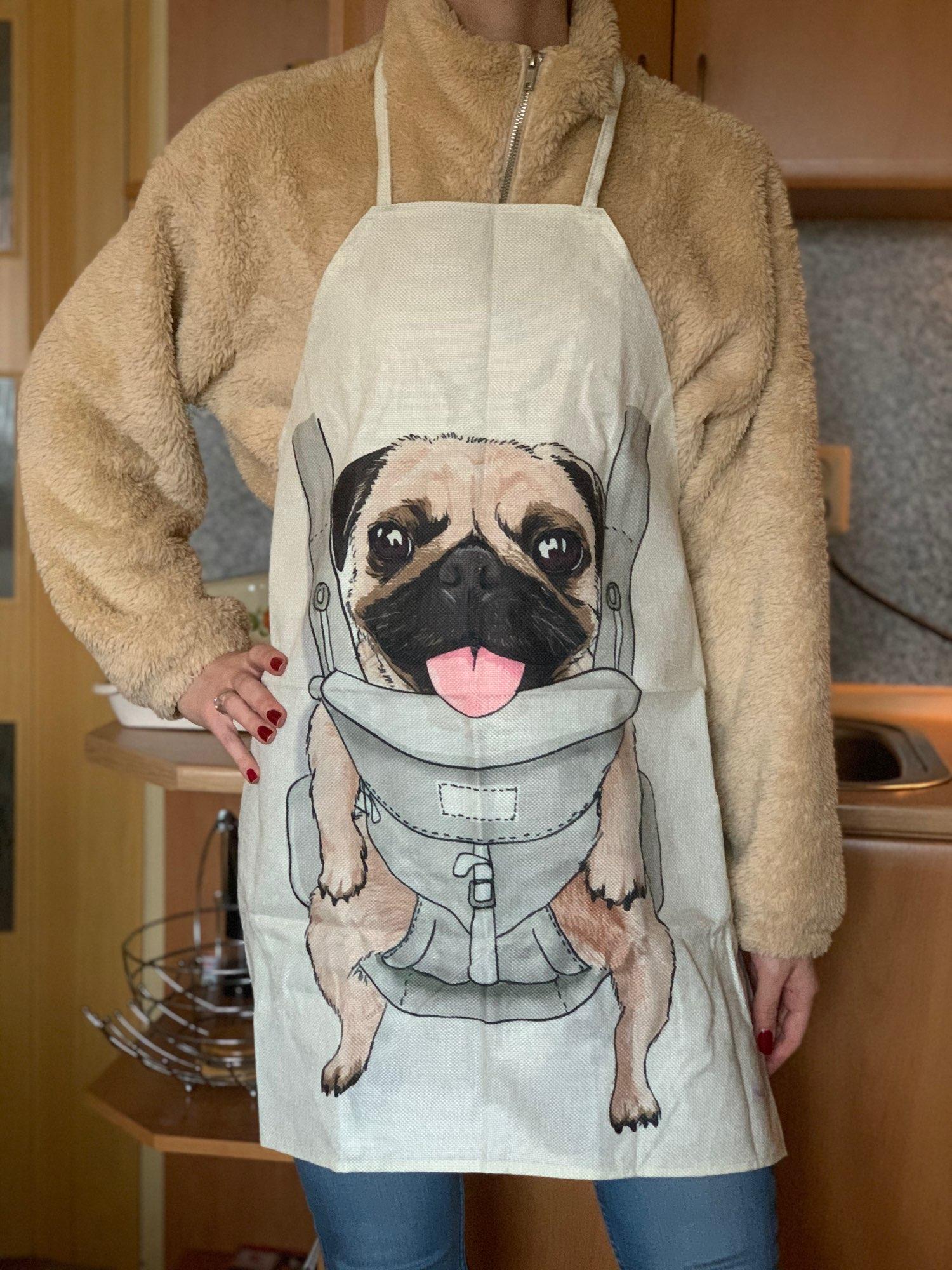 Dog Dachshund Patterned Silver Bulldog Apron photo review